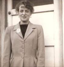 Edna May Bailey 1927 - 2010, here outside 41 Princess Gardens, Feniscowles, Blackburn, 1954