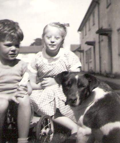 Ian Paul Bailey and his aunti Linda Joyce Beason, with the pet dog called Pal, this is at Feniscowles, Blackburn around 1955
