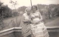 Edna May Bailey 1927 - 2010, and her sister Linda Joyce Beason in the garden at Feniscowles, Blackburn
