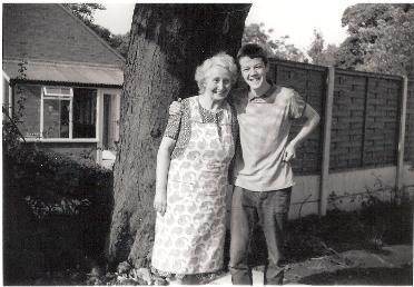 Ian Paul Bailey and his grandma Hilda Beason in the garden at Brindle around 1967
